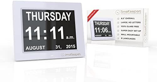 TimeKeepers - Top Rated Extra Large Memory Loss Digital Calendar Day Clock. Our Dementia Clock Shows Time, Day and Date, Month and Year. Perfect Gift for Elderly with Alzheimer's or Impaired Vision!
