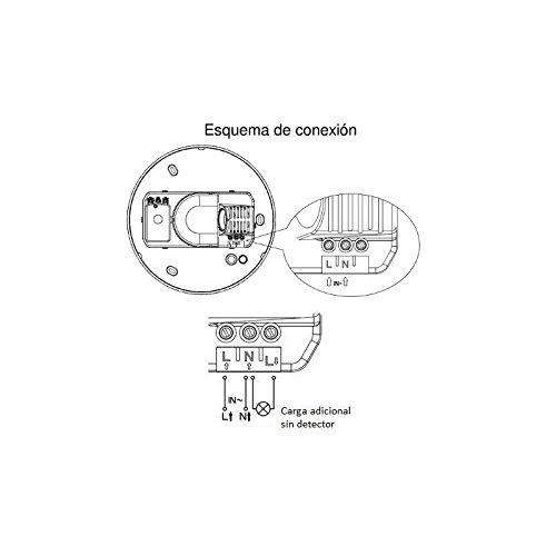 Plafón con Detector Movimiento 1 Casquillos E27: Amazon.es: Bricolaje y herramientas