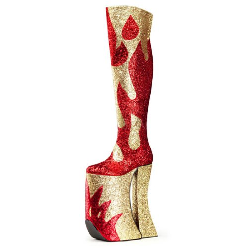 - Summitfashions MENS SIZING Red and Gold Glitter Thigh High Platform Boots with 11 Inch Heels Size: 9