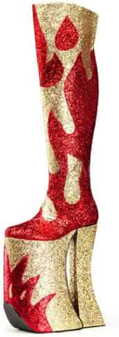 337b4b6b60d Summitfashions MENS SIZING Red and Gold Glitter Thigh High Platform Boots  with 11 Inch Heels