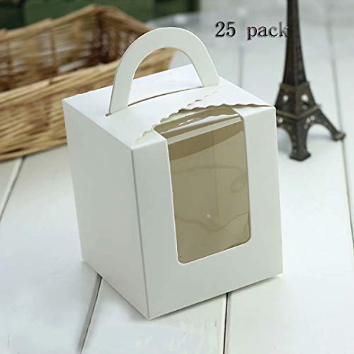 25 Pack Portable Cupcake Boxes Containers With PVC Window Candy Box]()