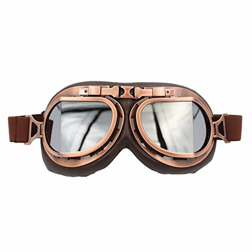 Vintage RAF Aviator Pilot Goggles Motorcycle Cruiser Chopper Biker Copper Frame Multi Lens - Goggles Boots Prescription