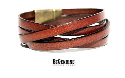 Men's Genuine Leather Wrap Saddle brown Bracelet, Multi Strand, Multi Wrap Men Leather Cuff, Handmade jewelry (Genuine Multi Strand)