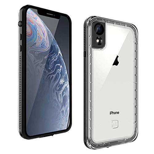 Waterproof iPhone Xr Case, Ultra Lightweight Slim Fit Full-Body Clear Bumper Case, Shockproof Xr Case with Screen Protector for Apple iPhone XR (Black)
