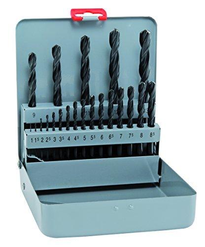 alpen Sprint Short HSS Spiral Drill Bit, DIN 338 RN 1-8,5 x 0.5 MM diameter and 9-13 than 21 x 0.1 MM-Piece Set in Metal Box, 800400100 by Alpen