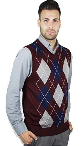 Argyle V-neck Sweater Vest - Blue Ocean Argyle Sweater Vest-2X-Large Burgundy