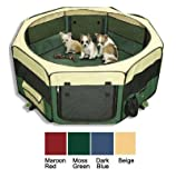 topPets Large Portable Soft Pet Soft Side Play Pen or Kennel for Dog, Cat, or other small pets. Great for Indoor and Outdoor (Beige)