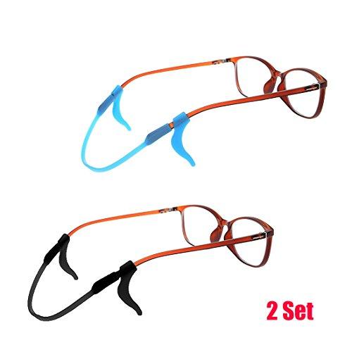 Price comparison product image 2-Set Silicone Kids Eyeglasses Anti-slip Retainers Hooks Chains, Blue & Black
