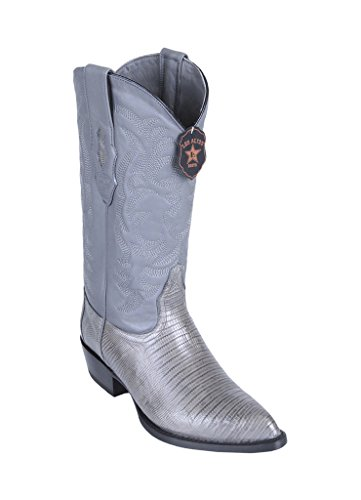 (Los Altos Men's J-Toe Gray Genuine Leather Teju Lizard Skin Western Boots)