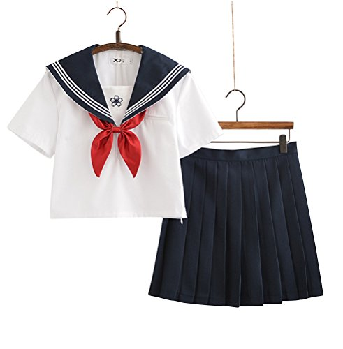 Plus Size Country Girl Costumes (Japanese School Uniform Cosplay, Women Girls Halloween Anime Sailor Costume Outfits White (XL--US 16-18, White))