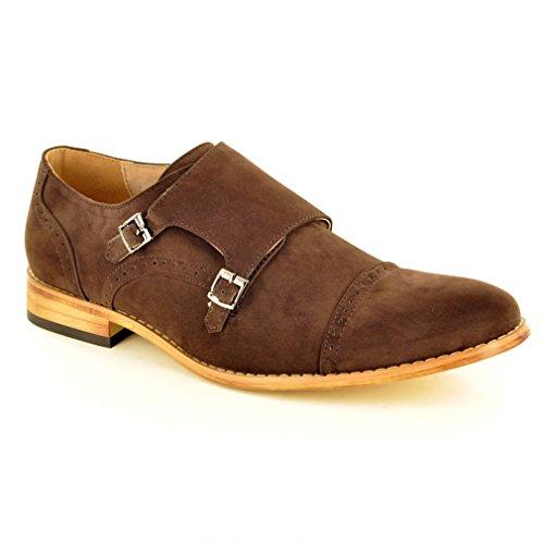 Mi pareja perfecta con forro de piel Para Hombre Doble Correa de monje Formal inteligente trabajo boda Slip On Zapatos marrón