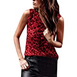 Corriee Stylish Vests for Women Summer Sexy Leopard Print Sleeveless Shirts Tank Tops Red