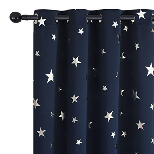(Utopia Decor Navy Blue Star Blackout Room Curtains Window Curtains for Kids Bedroom Nursery Noise Reducing Light Block  52 x 84 Inch One Pair)