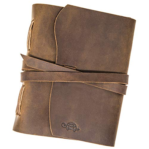 Leather Journal by Cruising Turtle Durable, Unlined Notebook Paper; Travelers Diary; Great for Professional use, Taking Notes, Practicing Gratitude or Mindfulness. Vintage Feel. for Men/Women.