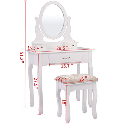 Winmart Vanity Wood Makeup Dressing Table Stool Set Jewelry Desk bathroom with Drawer Mirror White by Winmart (Image #2)