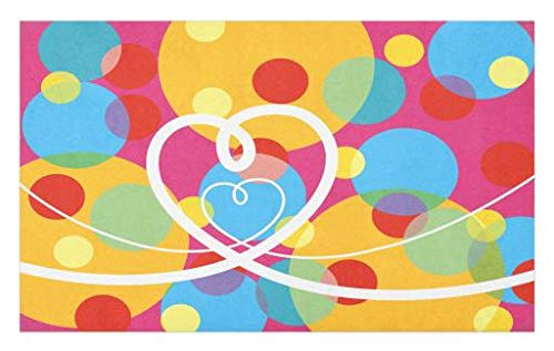 Lunarable Groovy Doormat, Pop Dots Different Sized Circles and Loopy Hearts Colorful Fun Retro Artwork, Decorative Polyester Floor Mat with Non-Skid Backing, 30 W X 18 L Inches, Pink Multicolor