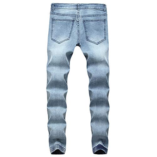 NUWFOR Men's Fashion Makes Old Personality Hollow Jeans Letter Printed Pant(Blue,US:28/AS:S ()