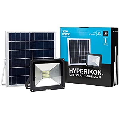 Hyperikon Solar Flood Light, 60 LEDs 30W, Outdoor Solar Powered Wall Lights, 6000K, Remote Controlled, Light Sensor, IP65