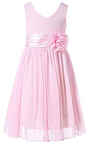 Bow Dream Flower Girl Dress Junior Bridesmaids V-Neckline Chiffon Blush Pink 8