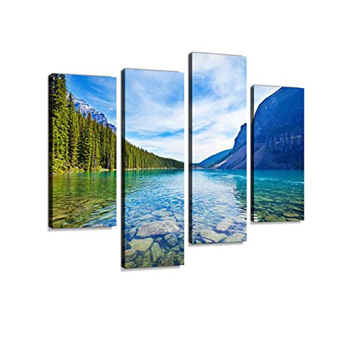 - Banff National Park Emerald Water Lake Landscape, Alberta, Canada Canvas Wall Art Hanging Paintings Modern Artwork Abstract Picture Prints Home Decoration Gift Unique Designed Framed 4 Panel