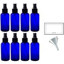 4 oz Cobalt Blue Glass Boston Round Fine Mist Spray Bottle (8 pack) + Funnel and Labels for essential oils, aromatherapy, food grade, bpa free