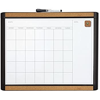 U Brands Pin-It Magnetic Dry Erase Monthly Calendar Board, 20 x 16 Inches, Black Frame
