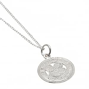 Celtic F.C.–Colgante de plata de ley y colgante de plata de ley Chain-; Chain- colgante aprox 16mm x 16mm cadena aprox 49cm (19pulgadas)-en una caja de regalo mercancía de fútbol oficial