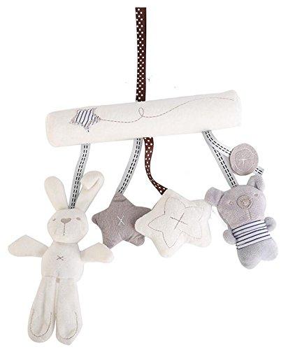 Hangqiao - Móvil musical de felpa para carrito de bebé, diseño de estrella, conejo y osito: Amazon.es: Hogar