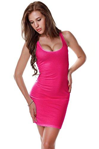 PINKPHOENIXFLY Women's Sexy Low Cut Cotton Tank Dress/Vest (Large, Dark Pink)