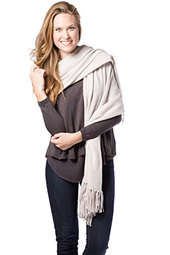 Fishers Finery Women's 100% Cashmere Wrap Shawl with Fringe; 78