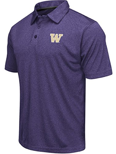 Colosseum Men's NCAA Heathered Trend-Setter Golf/Polo Shirt-Washington Huskies-Heathered Purple-XXL