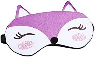 TOPJIN Cartoon Fox Figure Adjustable Strap Sleeping Eye Mask Blindfold Eyeshade with Ice Bag Purple
