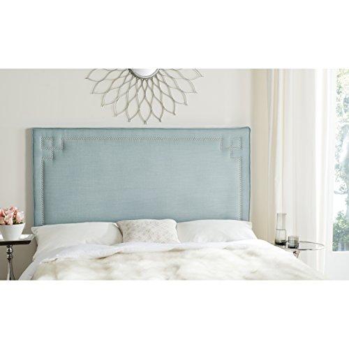 - Safavieh Remington Sky Blue Linen Blend Upholstered Greek Key Headboard (Queen)