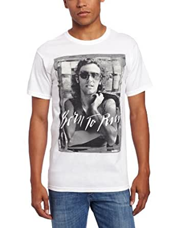 FEA Men's Bruce Springsteen B And W Born To Run Mens T-Shirt, White, Small
