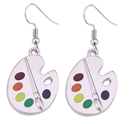 Fashion Design Paint Brush And Colorful Paint Palette Drop Earrings Artist Painter Jewelry