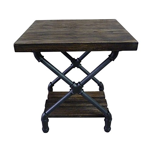 - Furniture Pipeline Rustic Side End Table Bedroom Night Stand, Metal with Reclaimed Aged Wood Finish (Rustic Bronze with Light Brown Stained Wood)