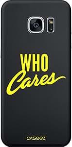 """trend-x Caseez Back Case Neon """"Who Cares"""" para Samsung Galaxy S7, amarillo - apropiado para GALAXY S7 G930F"""