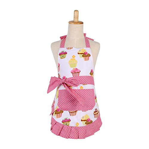 FirstKitchen Cotton Aprons for Kid Girls, Cupcake Pattern Apron for Children, Great for Daughters Litter Girls(Kid Girl) ()