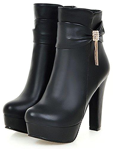 Easemax Women's Sexy Side Zipper Pointed Toe High Block Heel Platform Ankle High Booties Black kufTD