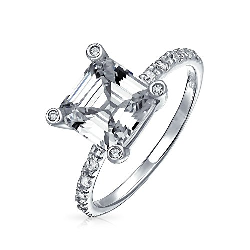 Asscher Square Ring - Art Deco Style 3CT Square AAA CZ Side Thin Pave Band Solitaire Asscher Cut Engagement Ring 925 Sterling Silver For Women