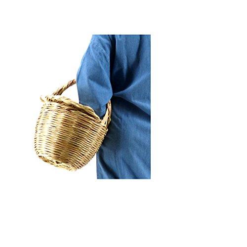 Rouven Icone Parisienne Picnic Basket Tote Bag/Beige/L/Weidenkorb mit Deckel Korbtasche Bastkorb Strandkorb Strandtasche Tasche Henkeltasche/modern chic rund groß/W 25-27cm 9sgd35p6wD