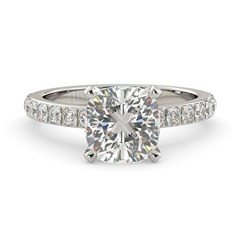 2.50 dwt Cushion Cut Charles & Colvard Forever One Moissanite & Round Cut Natural Diamond Engagement Ring Solitaire Custom 14k White Gold Size 4-10 - Round Natural Solitaire Diamond