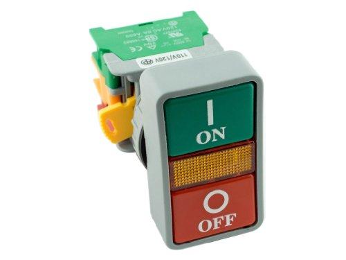 Alpinetech DPB22 ON OFF Double Push Button Momentary Switch 22mm 110V LED Illuminated 1NC 1NO