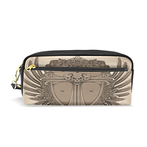 FENNEN Skull King Leather Student Pen Pencil Case Holder Cute Womens Cosmetic Bag Makeup Pouch Gift for Girls Boys - Kings Pencil Holder