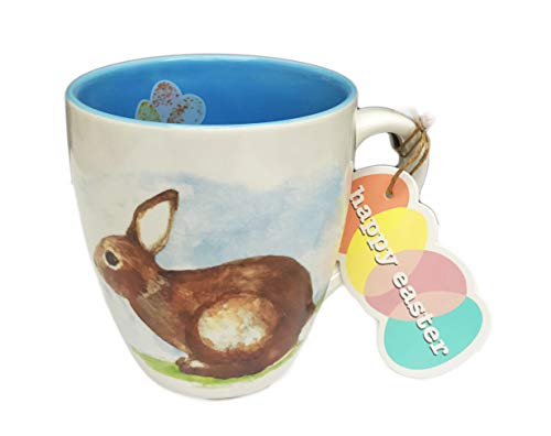 - Happy Easter Cute Bunny Rabbit and Colorful Speckled Eggs Novelty Springtime 16 oz Coffee Tea Coco Drink Gift Mug