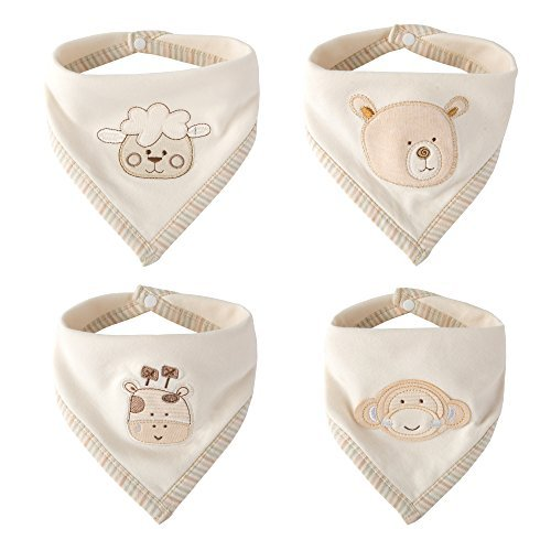 Super Cute Bandana Bib - Best for Drooling and Teething - 100% Natural Colored...