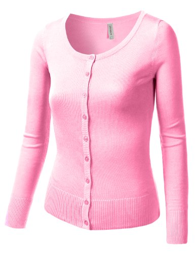 J.TOMSON Womens Basic Long Sleeve Cardigan Sweater LIGHT PINK MEDIUM