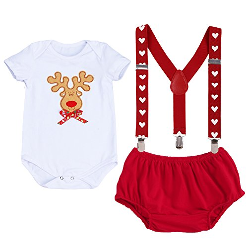 Grand America Christmas Tea Party - Baby Girls Boys Newborn My First Christmas Picture Costume Short/Long Sleeve Romper+Y Back Clip Suspenders+Striped Pant Outfits Set