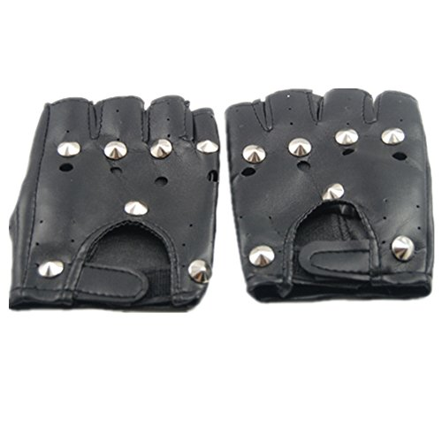 Topro Pointed Studs Black Leather Faux Fingerless Gloves Goth Biker 80'S
