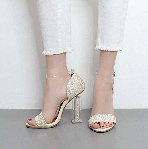 Dress Sandals Chunkly Heel Transparent Heels Crystal Size Eu Angle Strap Hollow Ankel Lady Open Fashion Toe gold 34 40 Sandals Wedding Sequins Shos Transparent High qAaHA